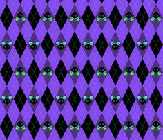 Evil But Cute Argyle Violet Green Turquoise fabric by wickedrefined on Spoonflower - custom fabric