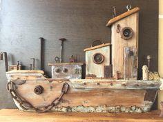 Driftwood Sculpture, Driftwood Art, Wood Block Crafts, Wood Blocks, Wooden Houses, Bird Houses, Navi, Nautical Art, Beach Crafts