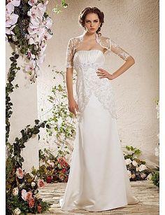 Sheath/Column Strapless Natural Court Train Half Sleeve Zipper Satin Illusion Garden/Outdoor Wedding Dress #169900(More color option)