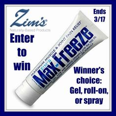 Low entry #giveaway! Enter to #win Zim's Max-Freeze topical pain reliever - winner's choice of gel, roll-on, or spray! Ends March 17 (11:59pm).