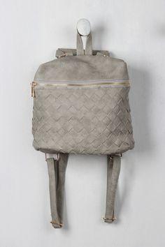 Vegan Leather Woven Mini Backpack