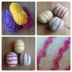 Another option is to wrap the yarn around the egg before wet-felting. That gives you less control over the pattern, but random squiggles of yarn are fun too. Wet Felting, Needle Felting, Easter Crafts, Crafts For Kids, Wraps, Eggs, Pattern, Blogg, Random