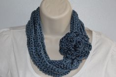 country blue Infinity chain scarf  necklace- Crochet infinity scarf - Chain scarf, Cowls - rose pin circle scarf. $18.00, via Etsy.