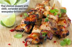 Thai chicken skewers with chilli, coriander and lime