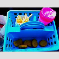 Shower Caddy // use to neatly corral snacks and food for kiddos while traveling #roadtrip
