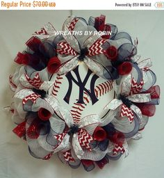 SUMMER SALE  New York Baseball Wreath Yankees by wreathsbyrobin