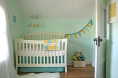 Pale green/mint/turquoise nursery with hints of yellow and white from Project Nursery. Could absolutely work for a baby boy or girl!