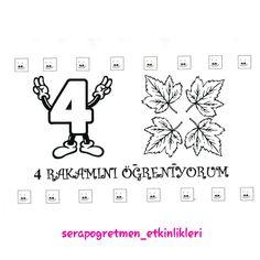 """İsteyenler için """"4 RAKAMINI ÖĞRENİYORUM"""" kitapçığımın sayfaları  #serapogretmen #serapogretmen_etkinlikleri  kalıp-1"""