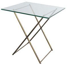 Mesa con cubierta de vidrio y patas de bronce #muebles, #diseño, #mesa, #decoracion, #estilo