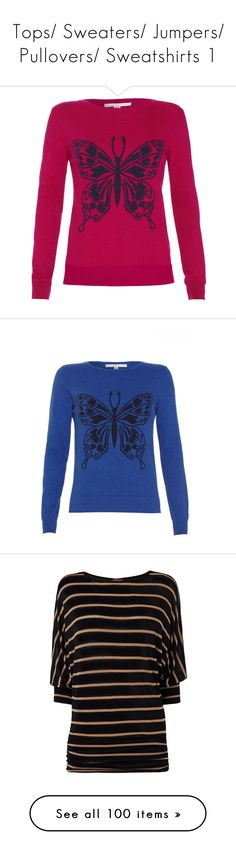 """""""Tops/ Sweaters/ Jumpers/ Pullovers/ Sweatshirts 1"""" by dragonflyy86 ❤ liked on Polyvore featuring tops, sweaters, clearance, pink, pink top, butterfly top, jumper top, jumpers sweaters, pink sweater and crew top"""