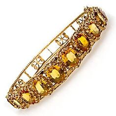 Estate Natural Citrine Gemstone Bangle Bracelet Solid 14K Gold
