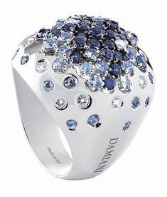 "Damiani ""Paradise"" white gold, diamond and sapphire ring"