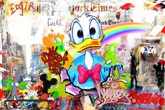 Donald the Observer. (150x100cm). Nelson Fabiano's series of Disney figures, blended in the NYC street art aesthetics. In this series, Fabiano is paying his respect to the important cultural movement of street art, and reminiscence to his days as a graffiti artists, using the nostalgic figures that were a part of our childhood.
