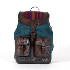 Mochata Aqua Backpack   #handmadebackpack #vintagebackpack #vintage #backtoschoolbackpack #backtounibackpack #winterbackpack #winterbag #winterwardrobe #bearabeara #qualityleatherbag #handmadebag #autumnwinter #sturdybag #embossing #navajo