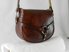 Handmade Latigo Leather Shoulder Bag  Hand-dyed and