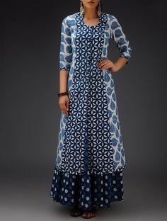Buy Indigo-White Printed Bias-Cut Cotton Jacket Online at Jaypore.com