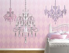 Love the chandelier & the harlequin patterned wallpaper!
