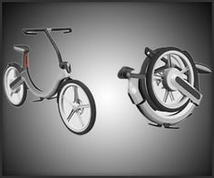 Volkswagen's new no-pedal electric Bik.e concept is designed to be charged up by the car it is placed in, as well as to fold into a circle that fits neatly in the car's spare tire compartment.