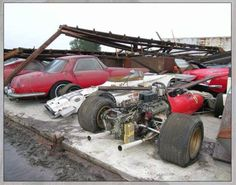 There has been a few hurricanes out in Florida in the last few years. Hurricane Charlie toppled this old building to expose 17 vintage Ferraris. No one but the owner knew they where in this old shed.