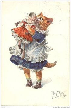 Thiele - Little girl cat hugs and kisses broken doll   arthur thiele cats - Google Search