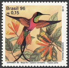 Beija-Flor, Crimson Topaz.  Postage stamp from Brazil,circa 1996