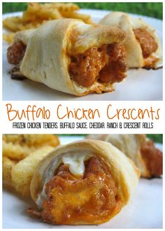 Buffalo Chicken Crescents - quick recipe for a weeknight meal or quick lunch. Also great at parties! Frozen chicken tenders, buffalo sauce, cheddar cheese, Ranch dressing baked in refrigerated crescent rolls. Serve with fries for a quick dinner! SO good!!