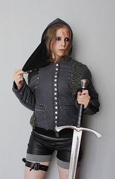 A womens winter jacket with detachable assassins mask, detachable chainmail pieces and decorative zips on sleeves.  Fully handcrafted. One of a kind; the only one in the world like it. As unique as you!!! Made from wool and eco leather & polyester lining.  Bust: up to 95 cm (37,5) Length: 58 cm (23)  FREE SHIPPING WORLDWIDE