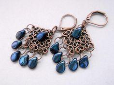 Czech Glass Dangle Blue Chandelier Blue PIP earrings Copper
