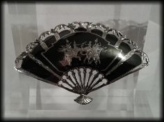 Vintage Large 925 Solid Sterling Siam Silver Niello Fan Brooch