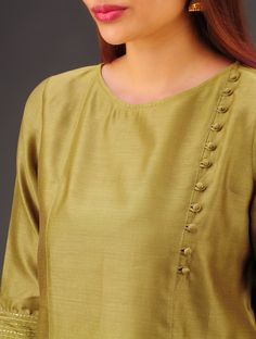 Olive Chanderi Button Detailed Kurta d Salwar Neck Designs, Churidar Designs, Kurta Neck Design, Neck Designs For Suits, Neckline Designs, Kurta Designs Women, Dress Neck Designs, Designs For Dresses, Sleeve Designs