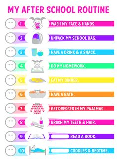GIRLS <3 MY AFTER SCHOOL ROUTINE <3 <3 Facebook Group <3 Free Printables by Lisa Heenan <3