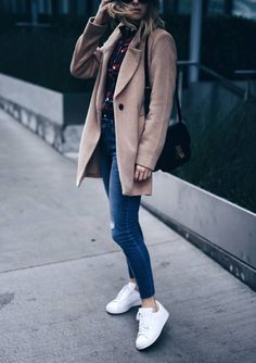casual plaid shirt with camel coat fall outfit bmodish