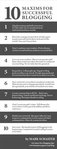 10 Maxims of Successful Blogging [Infographic] | By: Mark Schaefer via Schaefer Marketing Solutions | #infographic #blogging #bloggingtips
