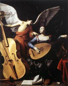 Carlo SARACENI - Saint Cecilia and the Angel,  c. 1610 Oil on canvas, 172 x 139 cm Galleria Nazionale d'Arte Antica, Rome