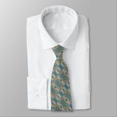 #rustic - #Teal Blue Coffee Brown Orange Eclectic Ethnic Look Neck Tie
