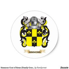 Simmons Coat of Arms (Family Crest) Classic Round Sticker