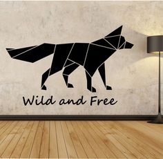 Origami Fox Wall Decal Wild and Free quote Sticker Art Decor Bedroom Design…