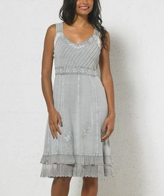 Another great find on #zulily! Sage Green Lace Tiered Scoop Neck Dress - Women #zulilyfinds