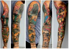 Awesome tattoo sleeve - DC / Marvel Superheroes