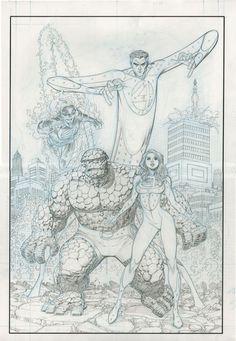 Arthur Adams shows new Fantastic Four pencils. #ComicBooks #ComicArt #FantasticFour