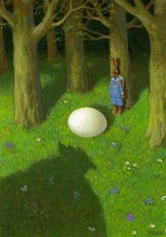 Easter bunny with egg by giant chicken illustration by Michael Sowa Art And Illustration, Chicken Illustration, Easter Illustration, Character Illustration, Michael Sowa, Easter Bunny Pictures, Wilhelm Busch, Whimsical Art, Surreal Art
