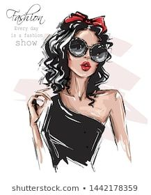 Hand Drawn Beautiful Young Woman In Sunglasses. Stylish Girl With Bow On Her Head. Fashion Woman Look. Stock Vector - Illustration of lips, accessory: 152344263 Fashion Illustration Dresses, Illustration Girl, Fashion Sketches, Facebook Cover Photos Vintage, Artistic Fashion Photography, Cute Girl Drawing, Summer Outfits For Teens, Stylish Girl, Aesthetic Girl