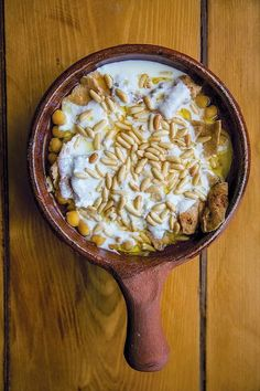 """Across the Levant, you will find variations on fatteh, dishes built on toasted or fried day-old bread. The term comes from the Arabic word """"fatta"""", meaning to crumble bread. In this Lebanese version f"""