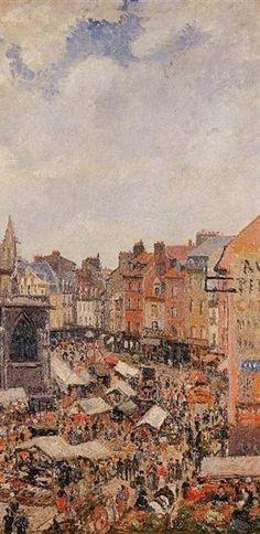 """Camille Pissarro (1830-1903) ~ """"Dieppe, Le Marché autour de l'Eglise Saint-Jacques"""", 1901 (Détail) ~ Huile sur Toile Originale 91 x 73 cm ~ Collection Privée"""