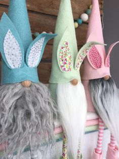 Set of 3 Easter Bunny Gnomes Nisse - ( 9 inch) Mint, Peony and Swan color hats with Bunny Ears and a Spring Crafts, Holiday Crafts, Holiday Fun, Crafts To Make, Diy Crafts, Christmas Gnome, Easter Crafts, Craft Gifts, Easter Bunny
