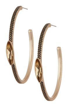 Navette Stone Texured Oval Hoop Earrings by Sam Edelman on @nordstrom_rack #own