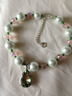 Pet Dog Necklace Pearls with Green Pendant 10 by LexingtonBaubles, $20.95