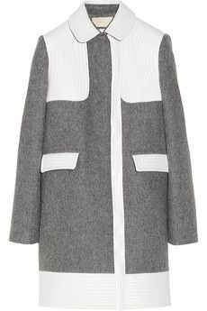 Vanessa Bruno Faux leather-trimmed wool-blend coat   THE OUTNET