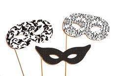 Photo Booth Props - Masquerade Masks - 3 piece set - Birthdays, Weddings, Parties - Photobooth Props. $12.00, via Etsy.