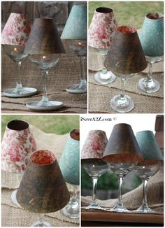 Wine Glass Lamp Shade DIY Project (Free template included) These are elegant and perfect on a table setting or on a mantle. You can use tealights or electric tealights too. Super easy to make with the template! Wooden Lampshade, Lampshades, Diy Lampshade, Cool Lamps, Unique Lamps, Rustic Lamp Shades, Cool Ideas, Decoration Table, A Table
